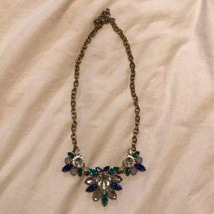 J. CREW Blue/Green Gem Statement Necklace